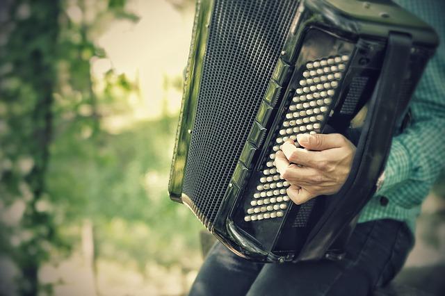 muž hrající na tahací harmoniku